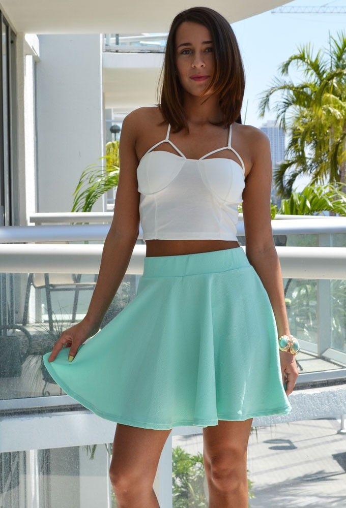 mint skater skirt / mint skirt #mint #skater #skirt #outfit
