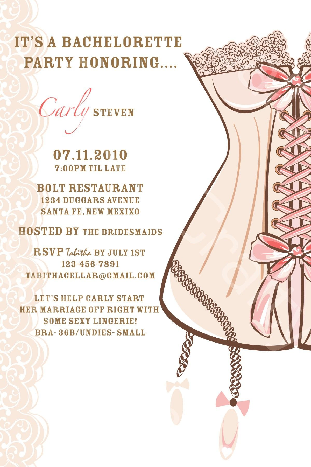 Custom Corset Bachelorette Party Invitation With Many Custom Print ...