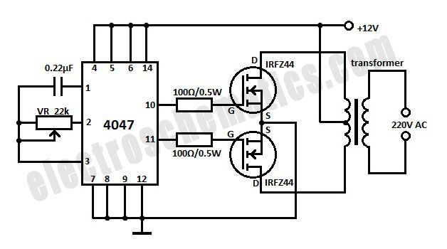 schematic of 12v to 220v inverter circuit