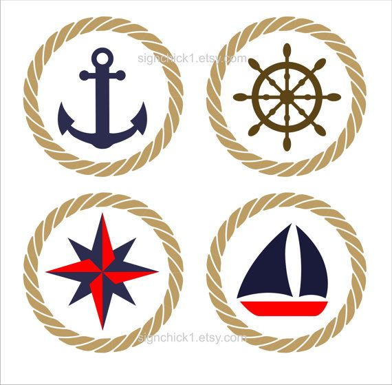 Rope Circle Set With Anchor Compass Star Sailboat By