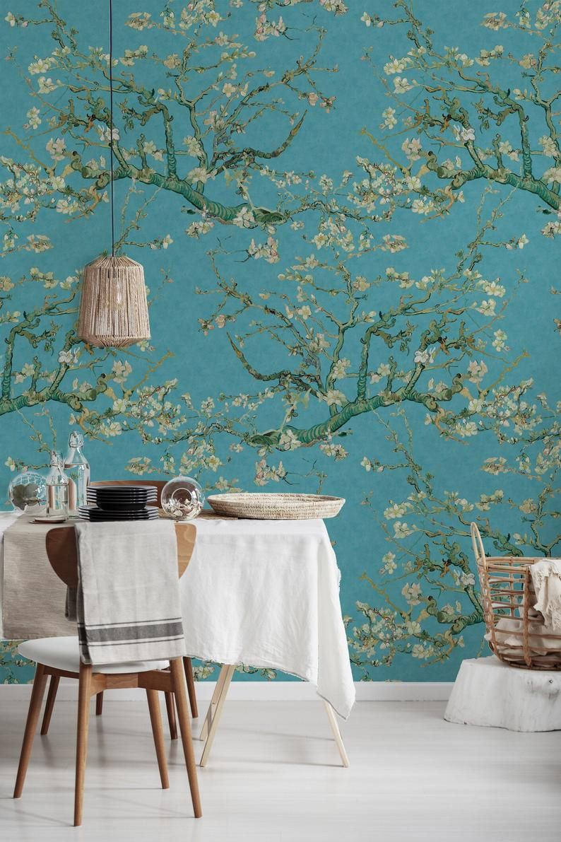 Almond Blossoms Peel N Stick Or Prepasted Wallpaper Etsy Prepasted Wallpaper Almond Blossom Wallpaper