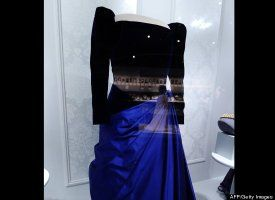 Former First Lady Barbara Pierce Bushs Inaugural Gown Is Displayed