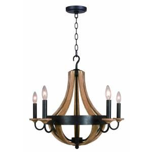 hampton bay talo 5-light driftwood chandelier | driftwood