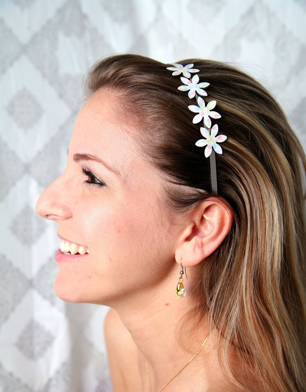 Cherry blossom headband, Sakura headband, Japanese print headband, Cherry blossom hair accessory, White flower headband, Pastel headband - pinned by pin4etsy.com