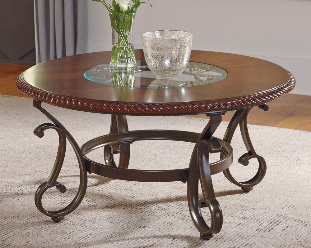 Round Traditional Coffee Table Clear Glass Top Home Decor ...