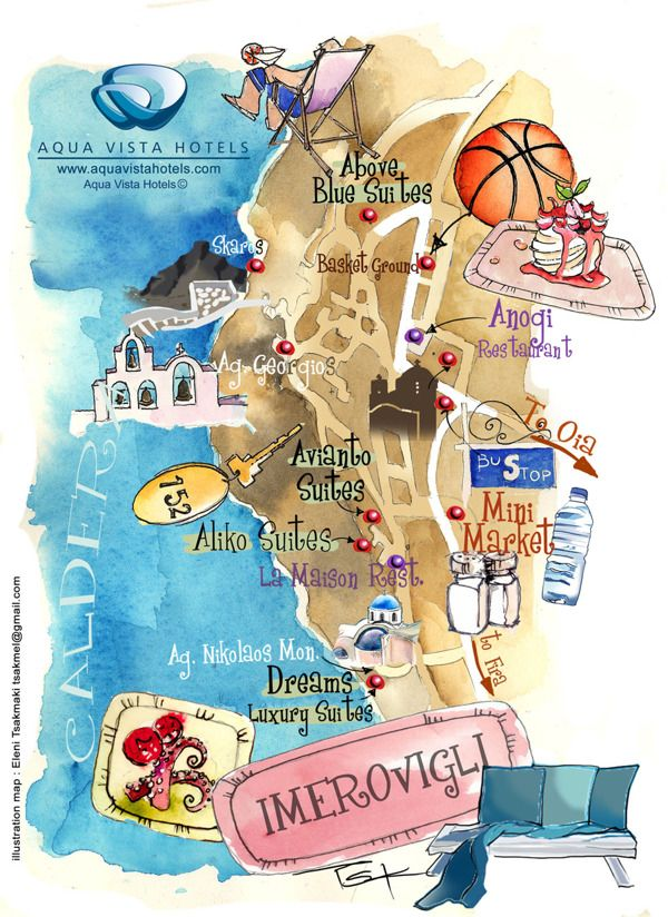 Santorini isl art map in Aegean sea by ELENI TSAKMAKI via Behance