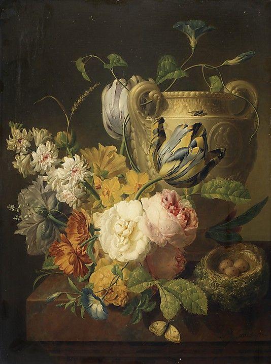 Flowers In A Stone Vase Peter Faes Flemish 1750 1814 Flower Painting European Paintings Art