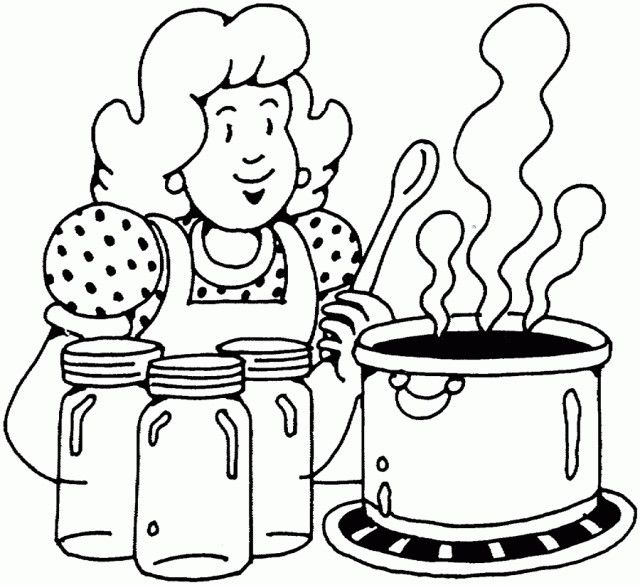 woman-cooking | Coloring pages, Thanksgiving coloring pages ...