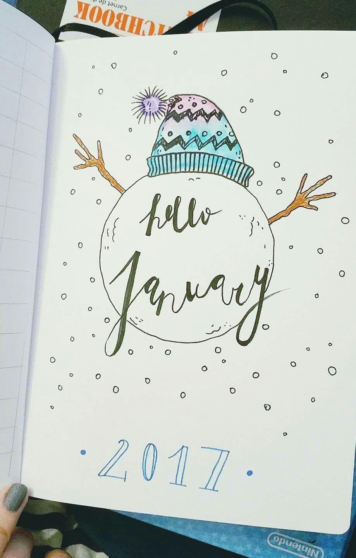 Hello January dans le bullet journal, page de présentation hiver Bullet  Journal Idées, Bullet