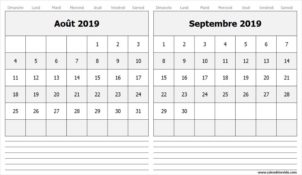 Calendrier Août Septembre 2019 à Imprimer Calendrier