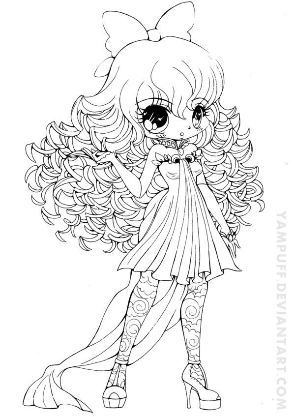 Curly Haired Girl Lineart By Yampuff Deviantart Com On Deviantart