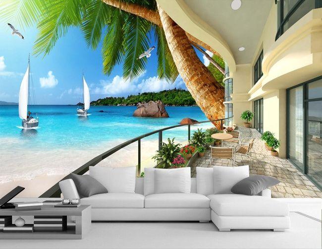 papier peint photo trompe l 39 il effet 3d appartement au bord de la mer extension d 39 espace in. Black Bedroom Furniture Sets. Home Design Ideas