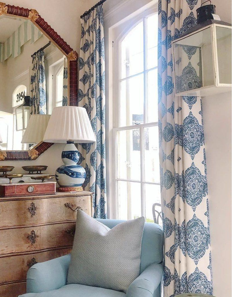 Blue And White Curtains Contemporary