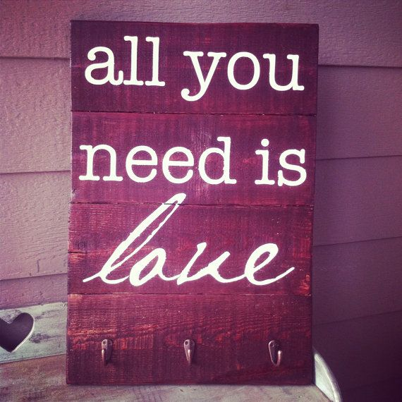 Repurposed All You Need is Love stained wooden by lauraleidesign, $55.00
