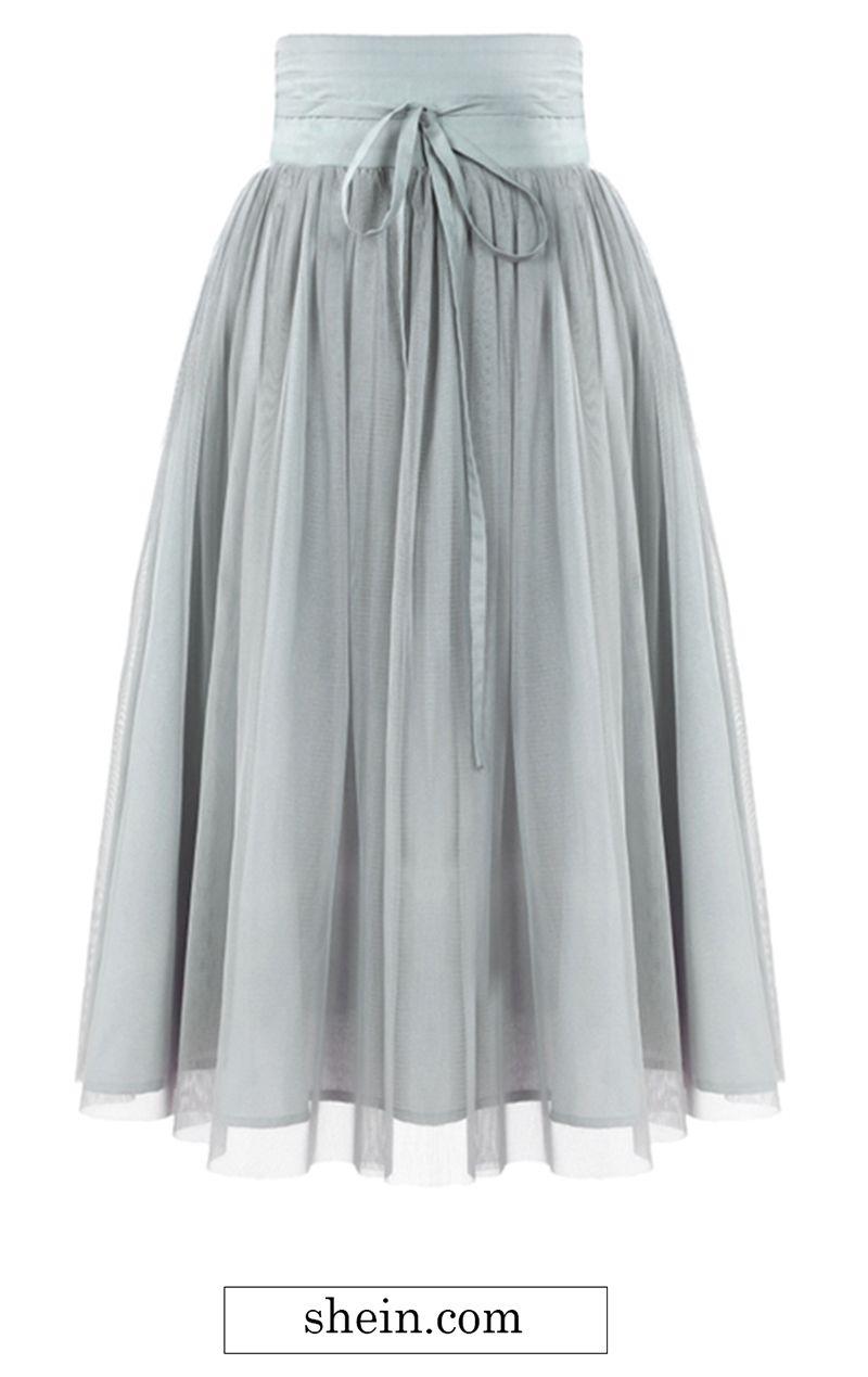 Tie Waist Pleated Mesh Skirt | Mesh skirt, Tulle skirts and High waist