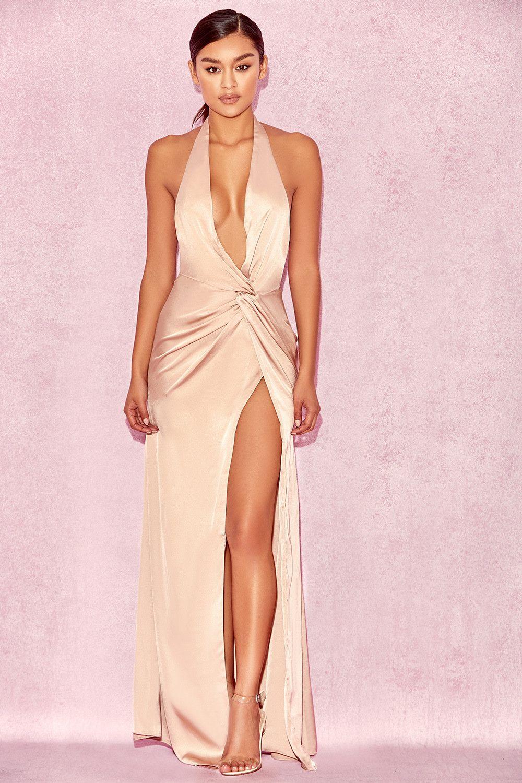 eb64594ebdb Clothing   Max Dresses    Soraya  Nude Satin Thigh Split Maxi Dress ...