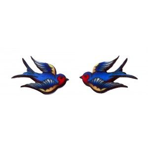 TATTOO SWALLOW STUD EARRINGS  Add a little flash to your get up! These die-cute, acrylic stud earrings feature a traditional tattoo swallow on each.  $9.00
