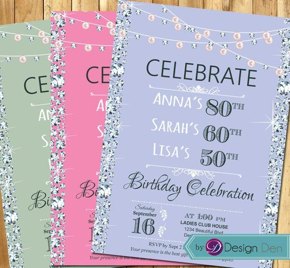 Adult Women Joint Birthday Invitation Party For 3 People Triple Pearls Diamond Invi