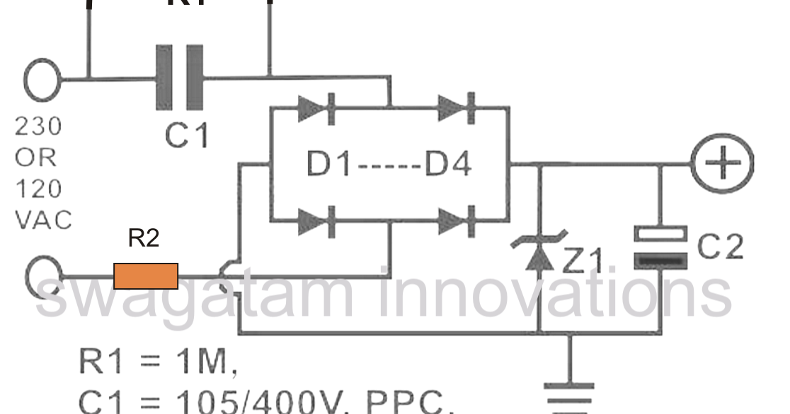 the post explains a transformerless power supply circuit which can rh pinterest com