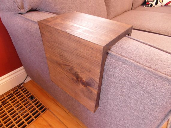 Custom Made Wood Couch Arm Wrap Shelf Table For Square