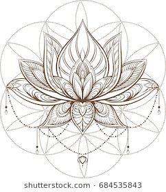 Lotus Flower Sacred Geometry Vector Illustration Isolated On
