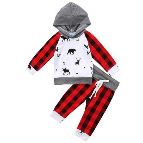 Pants Outsuit Set 2pcs Christmas Kids Baby Boy Clothes Hooded Sweatshirt Tops