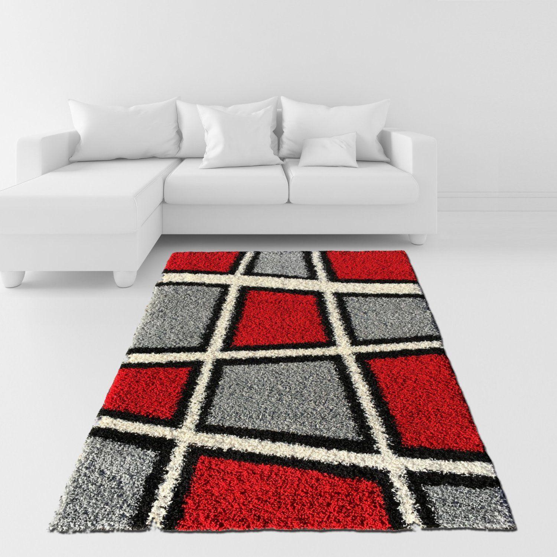 Shag Area Rug Geometric Tile Design Red Ivory Black Grey