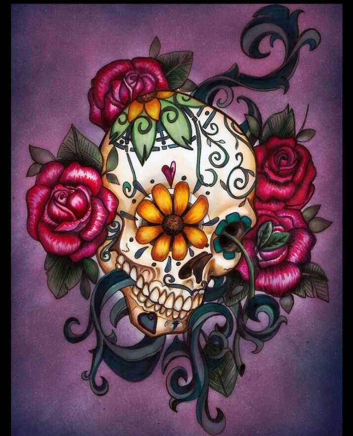I want something so much like this! #skulltattoo #roses