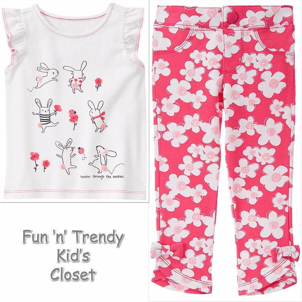 NWT Gymboree PRETTY POPPY Girls Size 6 12 18 Months Bunny Tee Shirt Jeggings SET #Gymboree #Everyday
