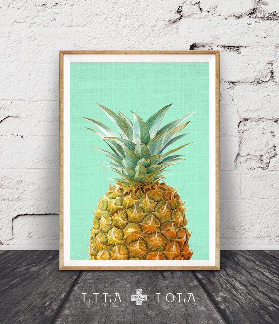 Pineapple Print, Tropical Wall Art, Minimal Art, Tropical Decor ...