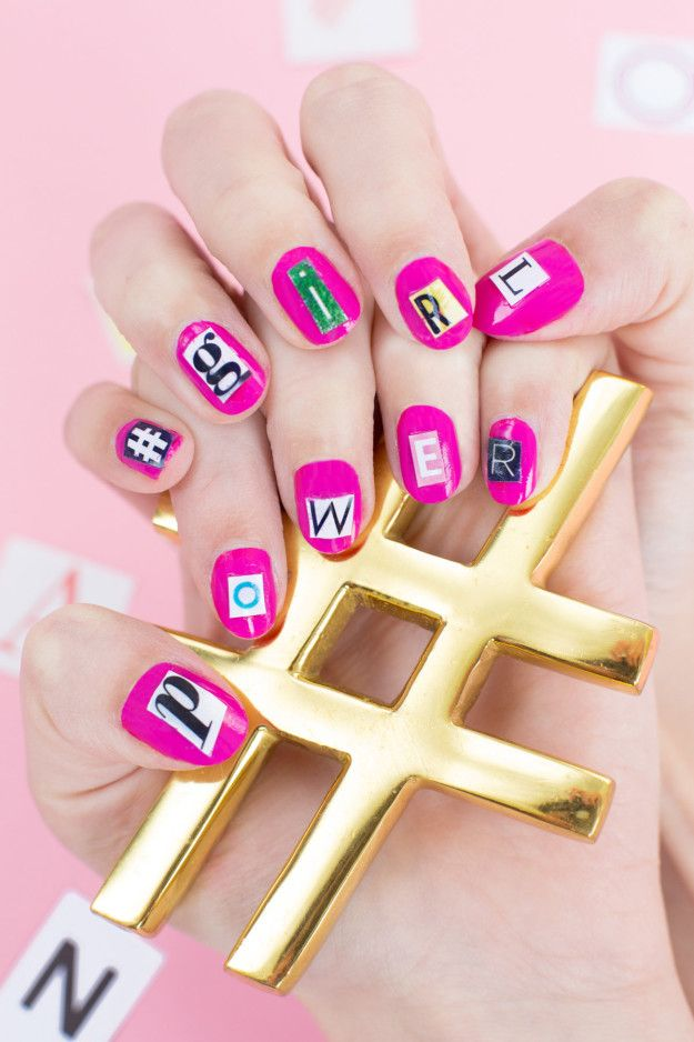 Cut out type from a magazine to make free, easy nail art. | Easy ...