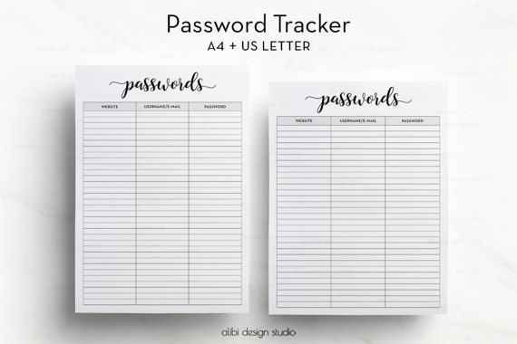 Password Tracker Password Log Password By Alibidesignstudio  A