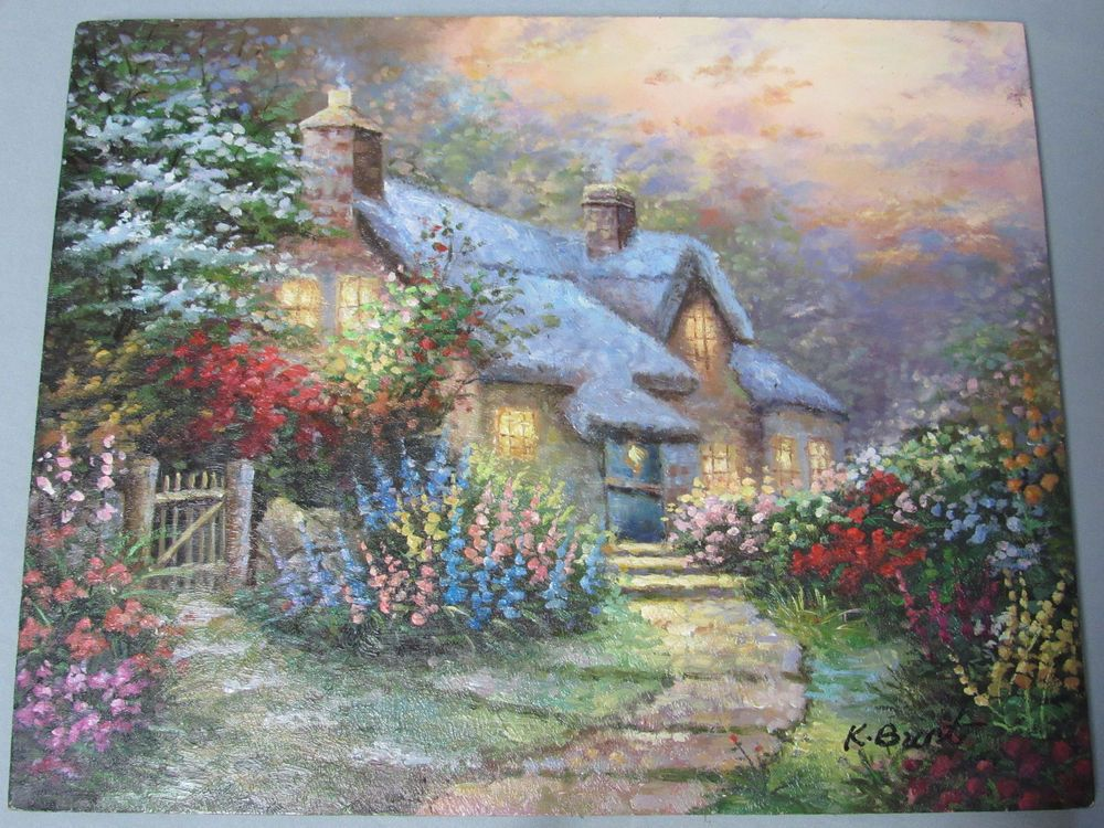 K Burt Signed Oil Painting On Wood 8x10 Brilliant Colors Country Cottage