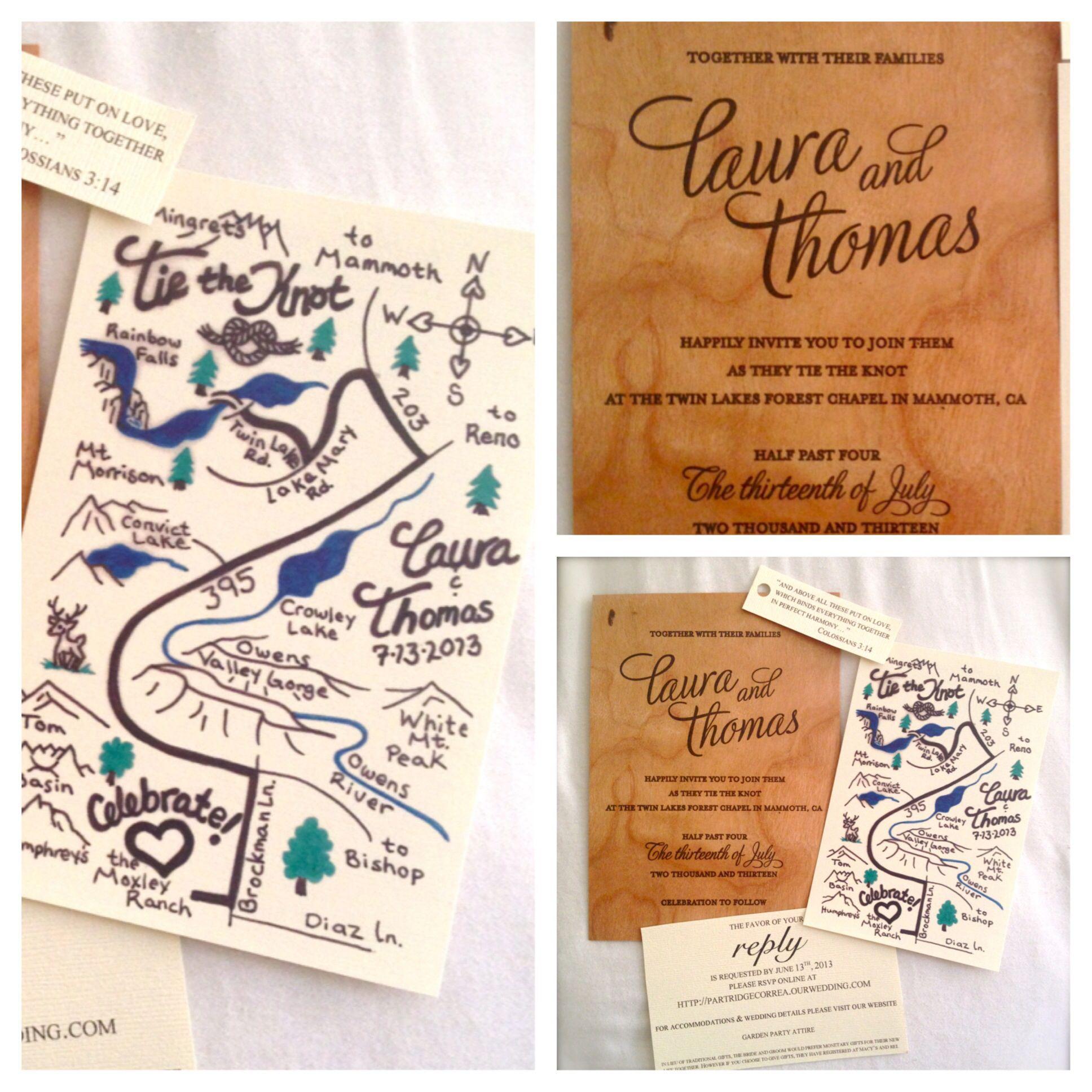 Hand Drawn Map And Wooden Wedding Invitation Rustic Wedding