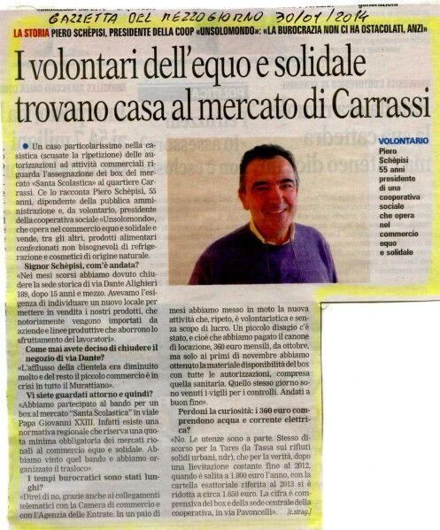 Intervista a Piero Schepisi,  presidente della cooperativa Unsolomondo Bari - Gazzetta del Mezzogiorno 30/01/14