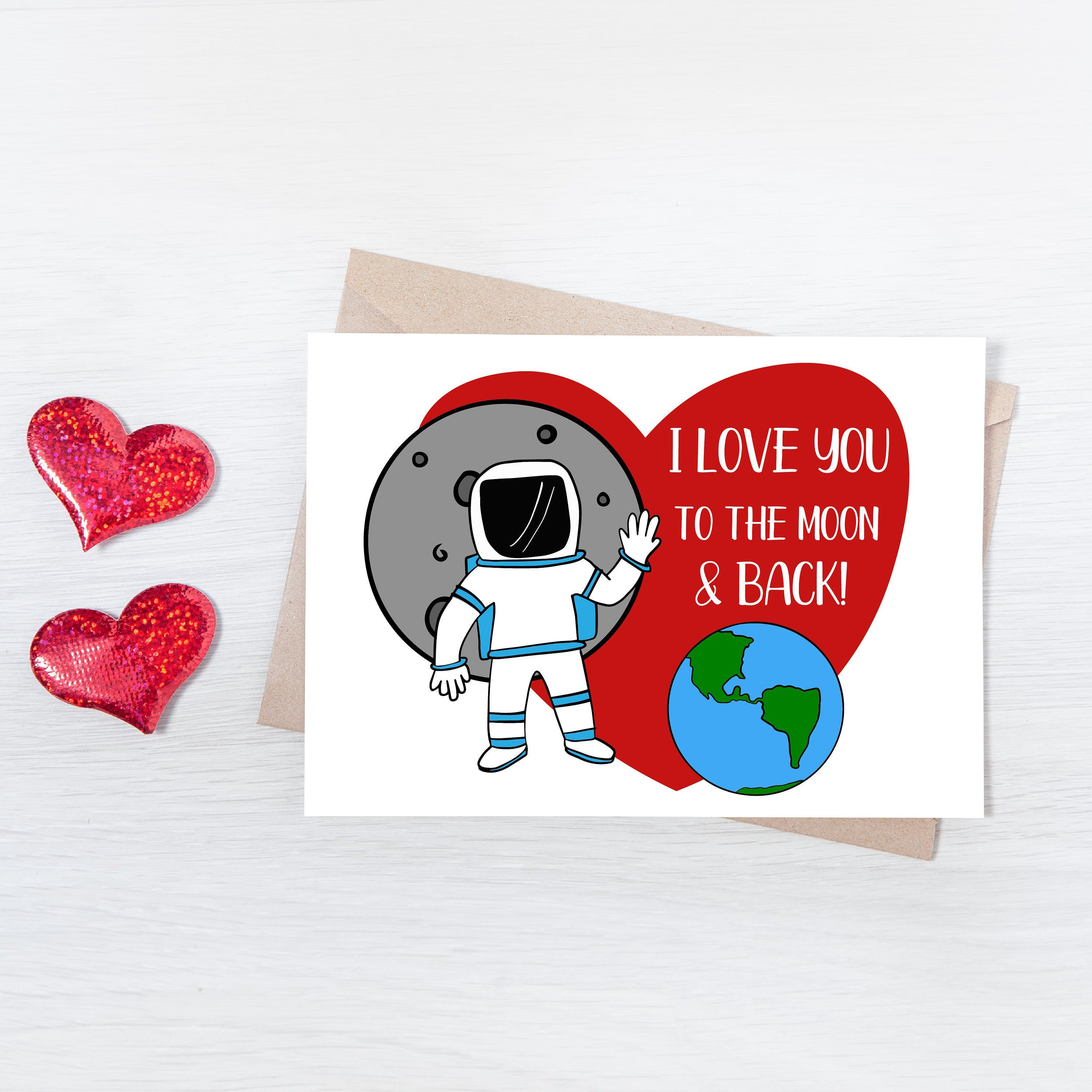 Astronaut valentines printable card love you to the moon
