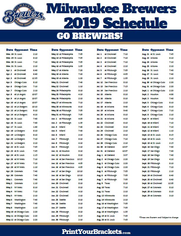 2019 Brewers Schedule Printable 2019 Milwaukee Brewers Schedule   Printable MLB