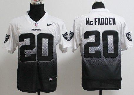 5767909f6 Nike Oakland Raiders  20 Darren McFadden White Black Fadeaway Elite Jersey