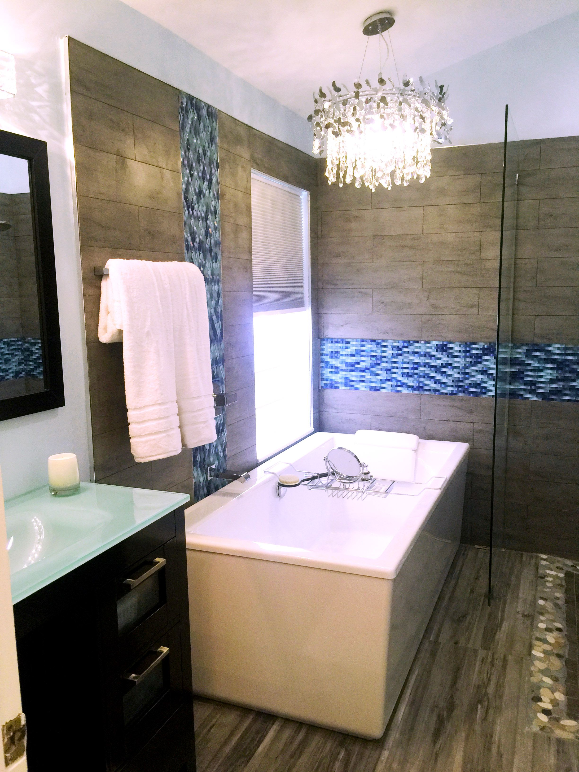 Bathroom Remodeling Boca Raton bathroom remodel. love the blue ripple stream mosaic glass tile