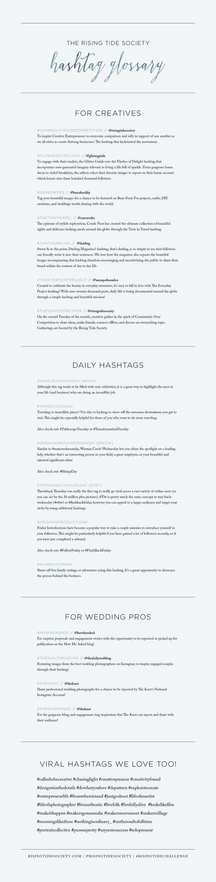 A Full List of Instagram Hashtags for Creative Entrepreneurs via The Rising Tide Society // #creatives #instagram