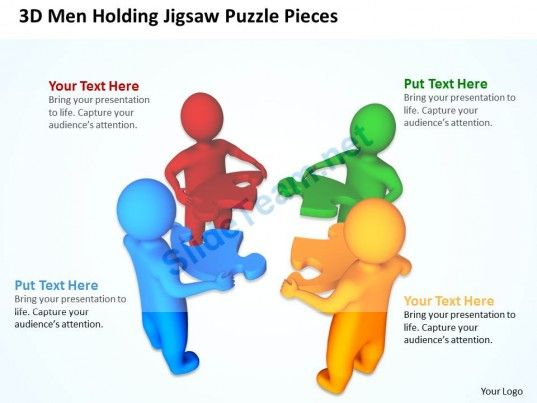 3D men Holding Jigsaw Puzzle Pieces Teamwork Business Ppt Graphics ...