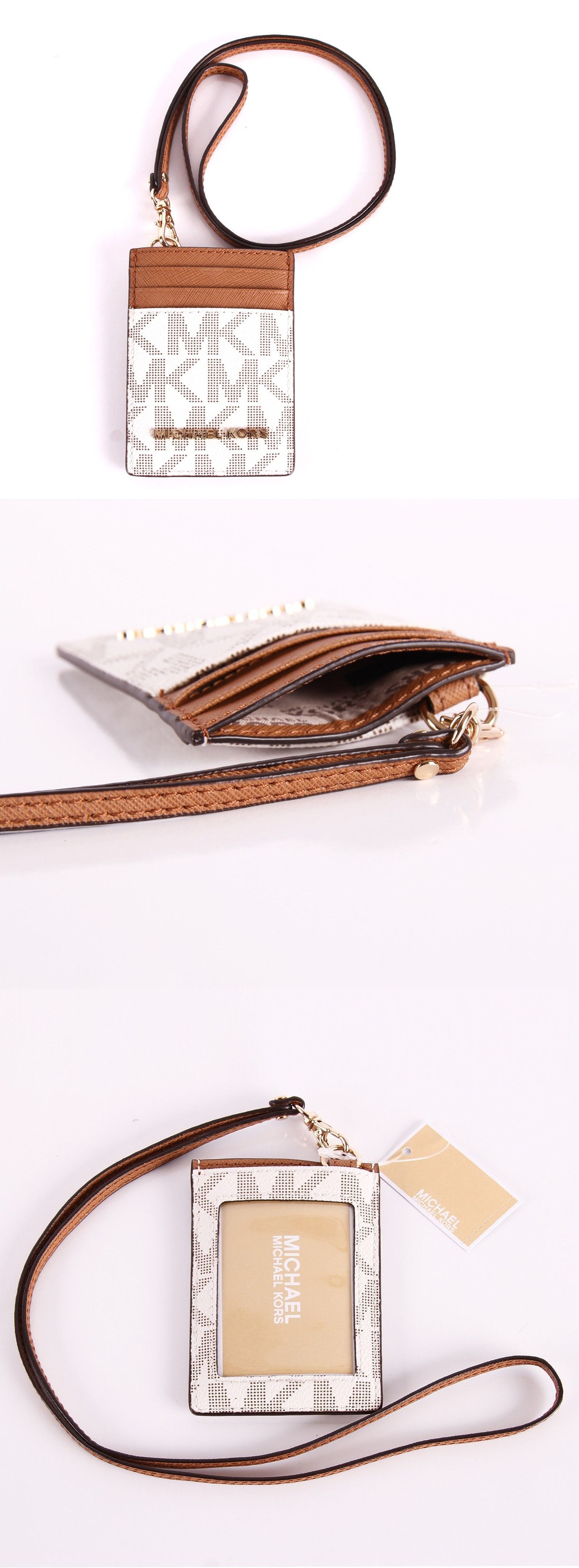 028ae6d177fb ID and Badge Holders 169287  New Michael Kors Jet Set Travel Pvc Lanyard Id  Card Case In Vanilla Acorn Mak 2 -  BUY IT NOW ONLY   44.99 on eBay!