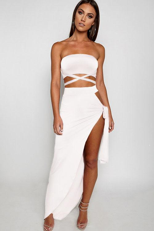 98ab482865b Strapless Bandage Crop Top with Long Split Skirt Two Pieces Dress Set  #streetstyle #womenstyle #dresslover #model #outfitoftheday #shopaholic  #fashionstyle ...