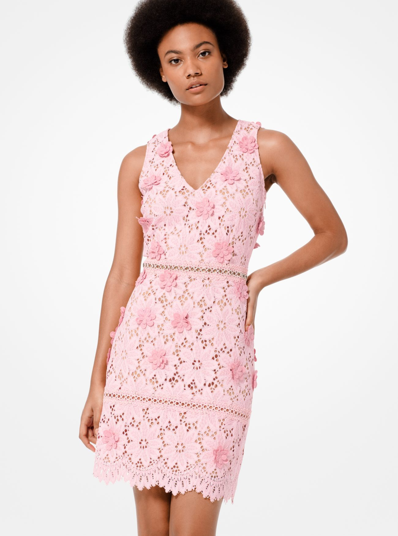 Floral Appliqué Lace Dress Michael Kors Robe dentelle