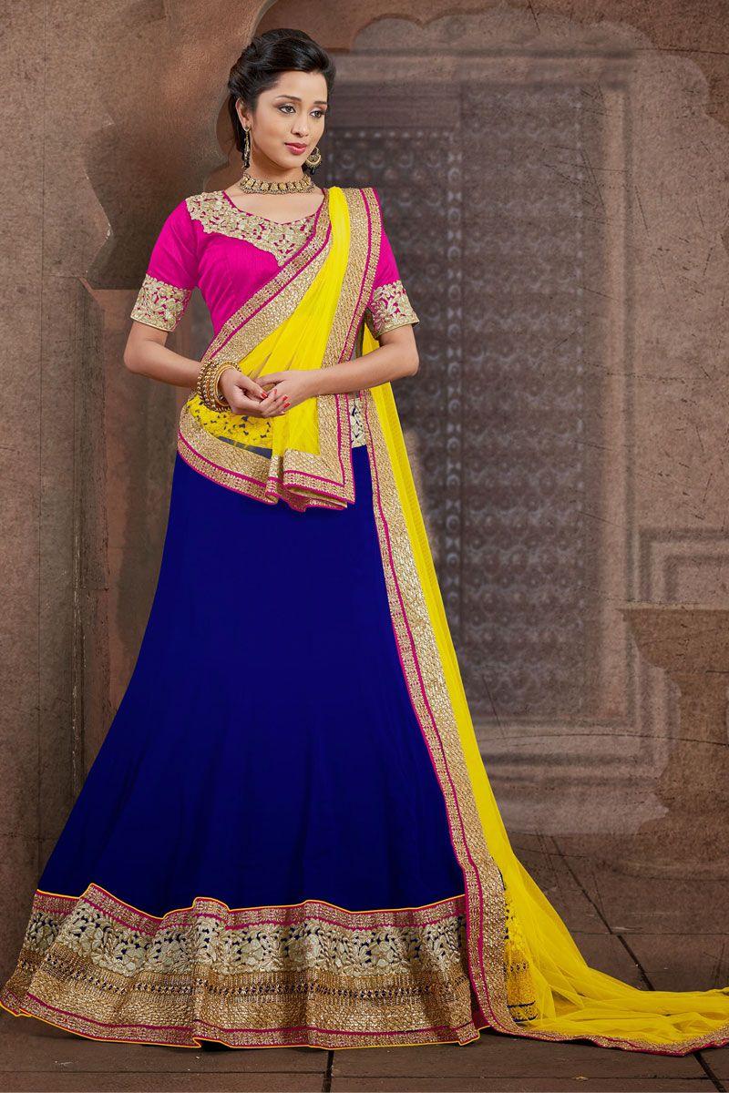 Yellow Choli With Blue Lehenga And Pink Blouse Best Color Combination Designer Piyuji Fashion