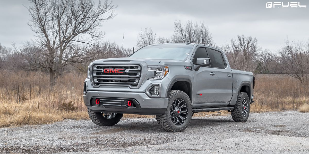 Check Out This Custom Gmc Sierra Sporting A New Set Of Fuel Assault D576 Wheels And See The Full Custom Fuel Rims Gal In 2020 Gmc Trucks Sierra Gmc Trucks Gmc Sierra
