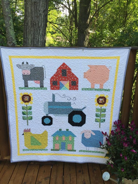 On the Farm Quilt by florenceanthemachine on Etsy