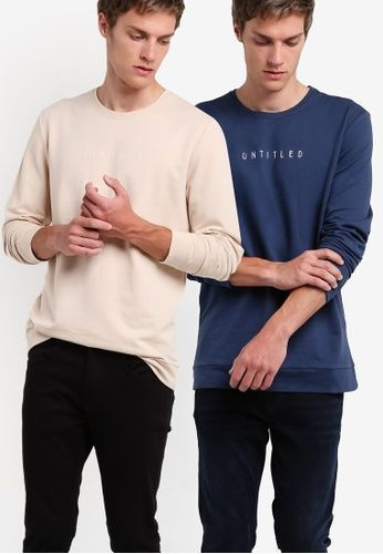 ca83656525c1 2 Pack Text Sweatshirt from ZALORA in beige and navy 1   TBP Bali ...