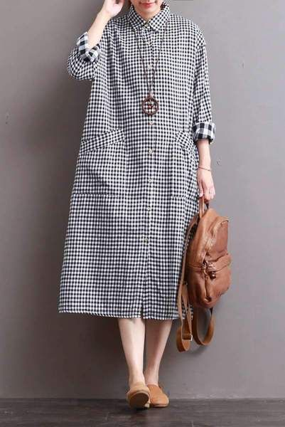 b8e2345dda2 Linen Plaid Casual Loose Shirt Dress