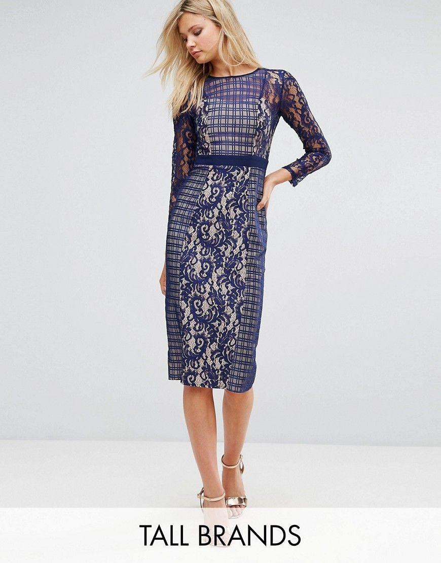 1d1d46092859d Shop Little Mistress Tall Long Sleeve Contrast Lace Shift Dress at ASOS.  Discover fashion online. Tubular Navy Blue Prom Dresses ...